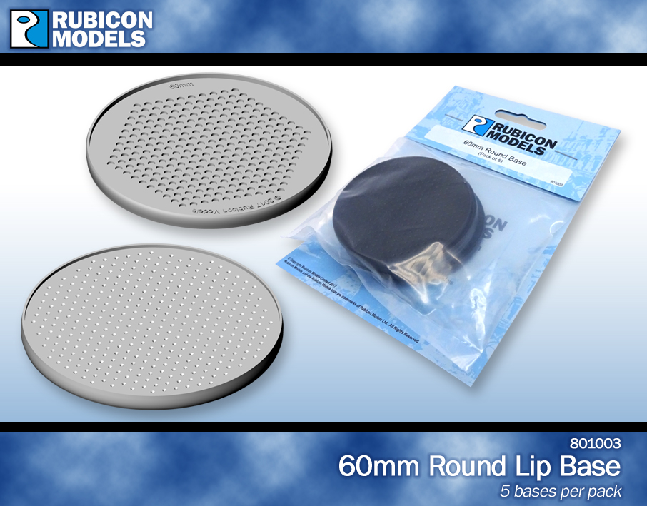 801002 – 60mm Round Bases- 1 Package of 5 Bases